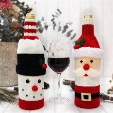 Рождественские красные чехлы для винных бутылок, сумки, вечерние украшения для стола, для дома, Санта-Клаус, снеговик, олень, Новогодний подарок