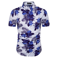 2017 New Summer Homme Mens Fit Clothes Men Casual Beach Shirts Chinese Style Floral Cotton Short