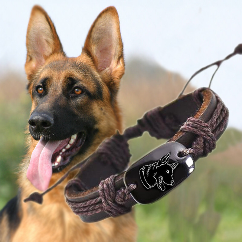 German Shepherd <font><b>dog</b></font> Animal Backer Woven Rope Leather <font><b>Unisex</b></font> <font><b>Bracelet</b></font> Yak Bone Carved,Fashion <font><b>bracelet</b></font> For Women drop shipping image