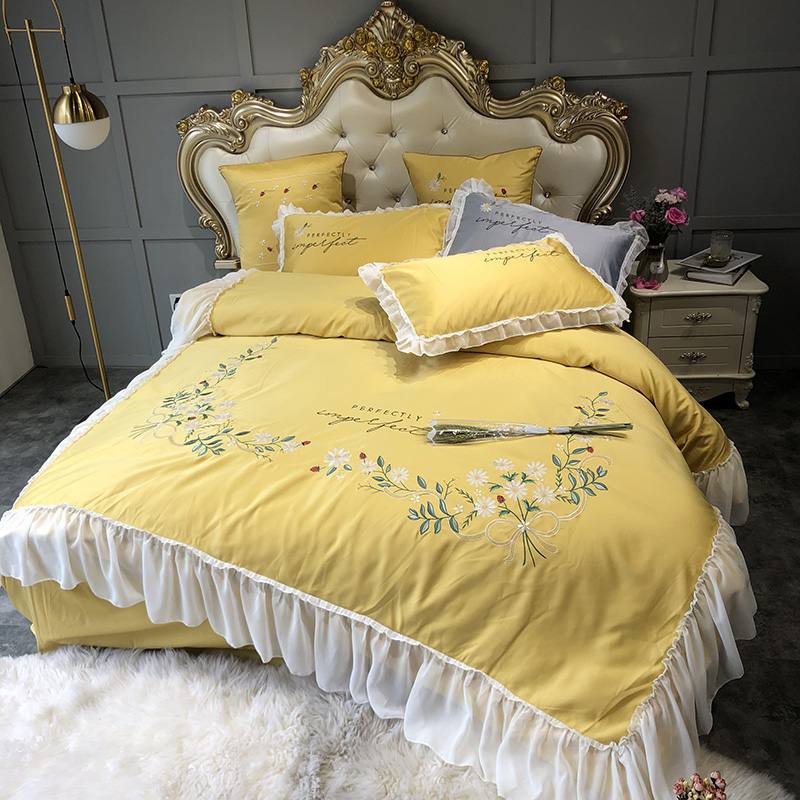 Yellow White Pink Gray Washed Silk Cotton Flowers Embroidery Princess Bedding Set Duvet Cover Bed sheet Fitted Sheet PillowcasesYellow White Pink Gray Washed Silk Cotton Flowers Embroidery Princess Bedding Set Duvet Cover Bed sheet Fitted Sheet Pillowcases