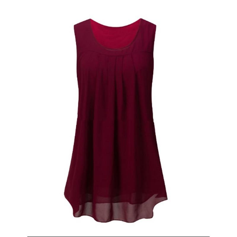 Summer Blouse 2018 Women's Sleevless Sleeve Casual O-Neck Loose Shirt Beach Tops Plus Size Chiffon Blouse 3