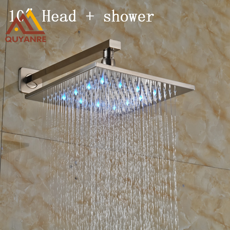 Brushed Nickle LED Light Showerhead 10 Inch Stainless Steel Rainfall Shower Head with Shower Arm nickel brushed square 12 rainfall shower head bathroom stainless steel showerhead with shower arm