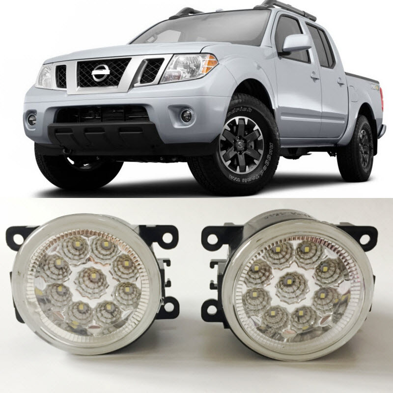 For Nissan Frontier 2005-2015 9-Pieces Leds Chips LED Fog Light Lamp H11 H8 12V 55W Halogen Fog Lights for opel astra h gtc 2005 15 h11 wiring harness sockets wire connector switch 2 fog lights drl front bumper 5d lens led lamp