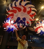 multicolor inflatable hanging sun for stage decoration with light