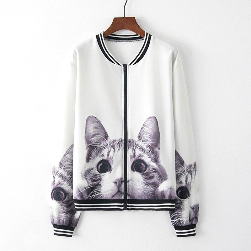 Womens Ladies 3D Cat Retro Floral Zipper Up Outwear coats Casual Sportwear Streetwear Jacket Female Outwear Jackets