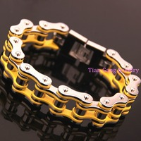 Heavy 149g 316l Stainless Steel Biker Bicycle Chain Men Male Accessory Fashion New Silver Yellow Bangle Bracelet 8.5 21mm