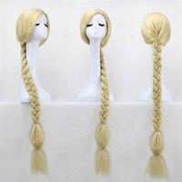 47 120cm Super Long Blonde Braid Tangled Princess Rapunzel Heat Resistant Hair Cosplay Costume Wig + Free Wig Cap