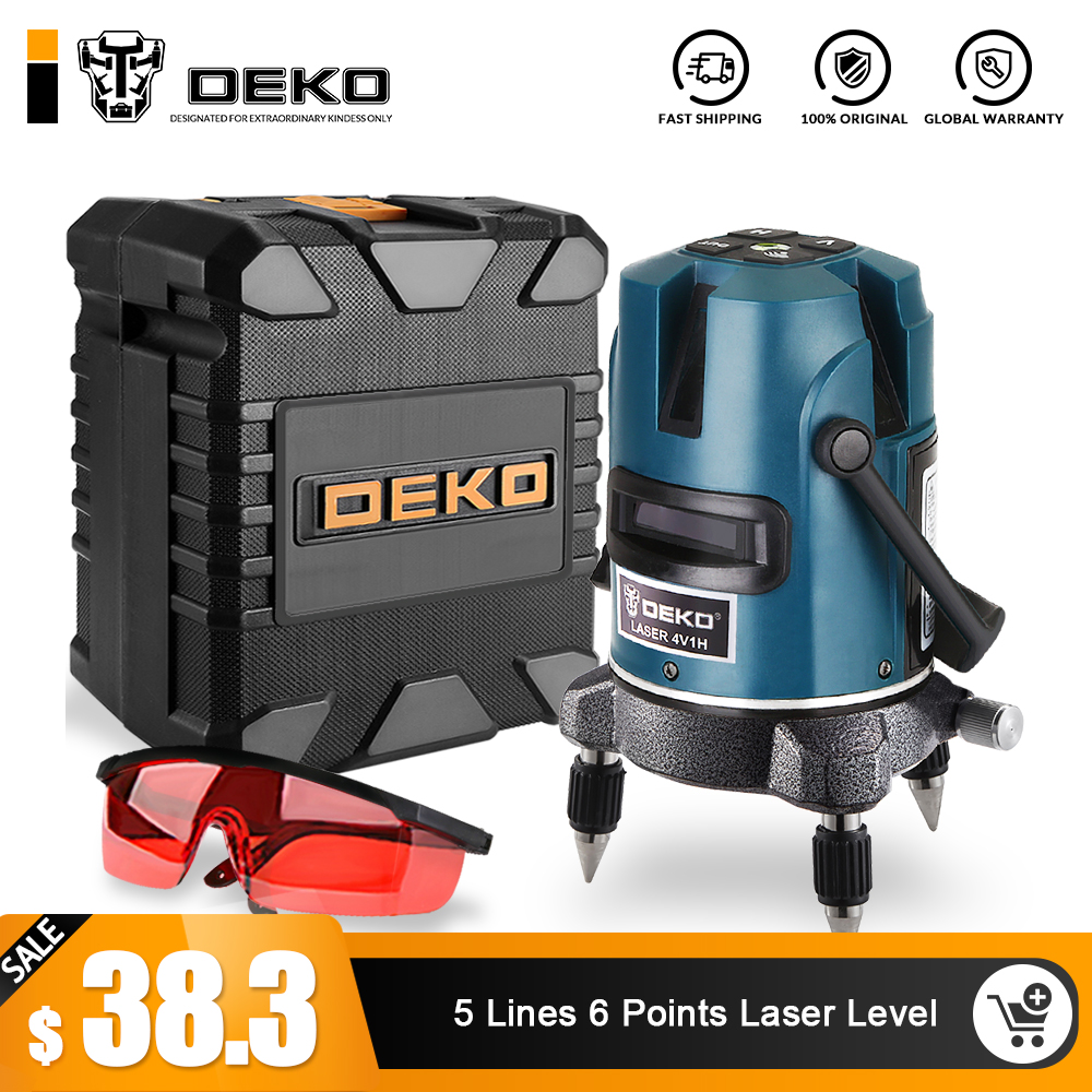 DEKOPRO 5 Lines 6 Points Laser Level 360 Vertical Horizontal Rotary Cross Laser Line Leveling with