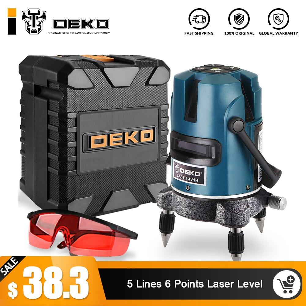DEKOPRO 5 линий 6 очков лазерный уровень 360 вертикальные и горизонтальный, поворотный крест выравнивания с наружным режимом