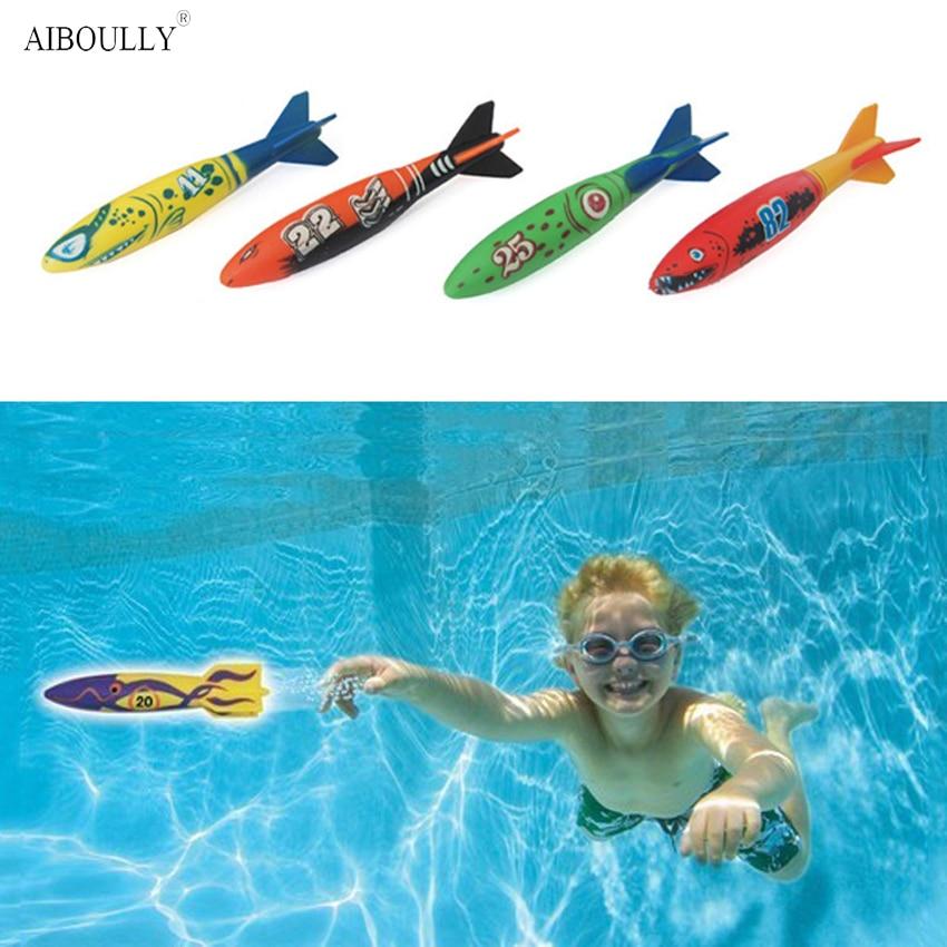 4 Pcs/Set Underwater Torpedo Rocket Swimming Pool Children Toy Dive Sticks Holiday Games Bath Toys