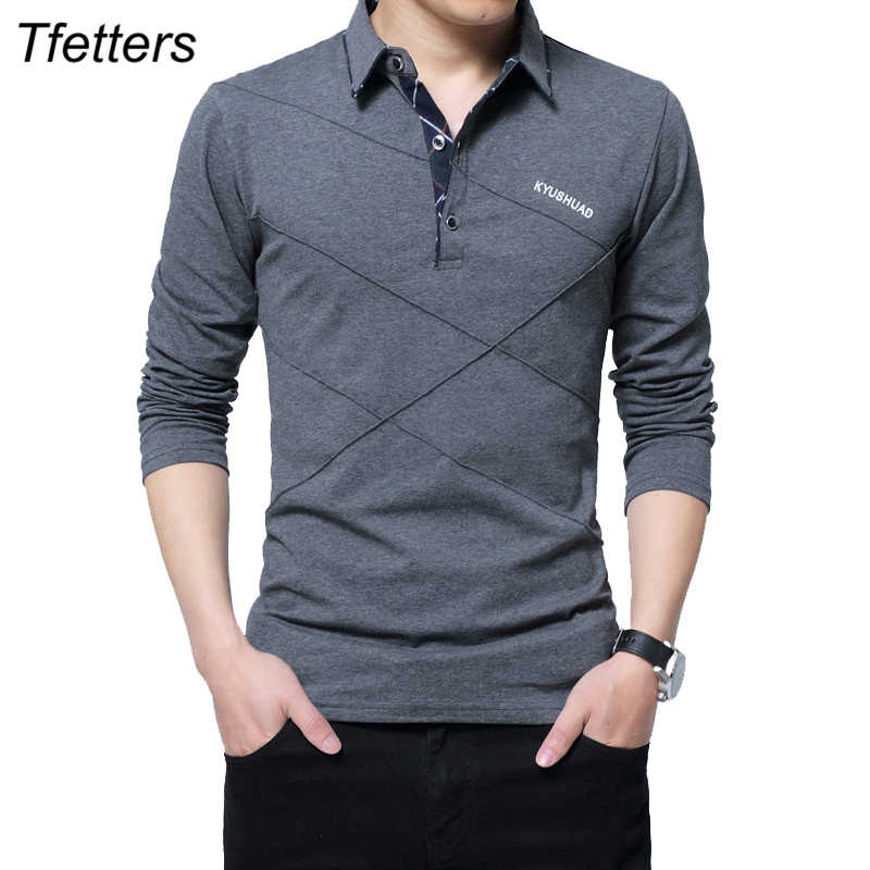 TFETTERS Brand T-shirt Mannen Lange T-shirt Turn-down Streep Designer T-shirt Slim Fit Losse Casual Katoenen T-shirt mannelijke Plus Size