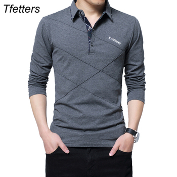 TFETTERS Brand T Shirt Men Long T-shirt Turn-down Stripe Designer T-shirt Slim Fit Loose Casual Cotton T Shirt Male Plus Size Men T-Shirts