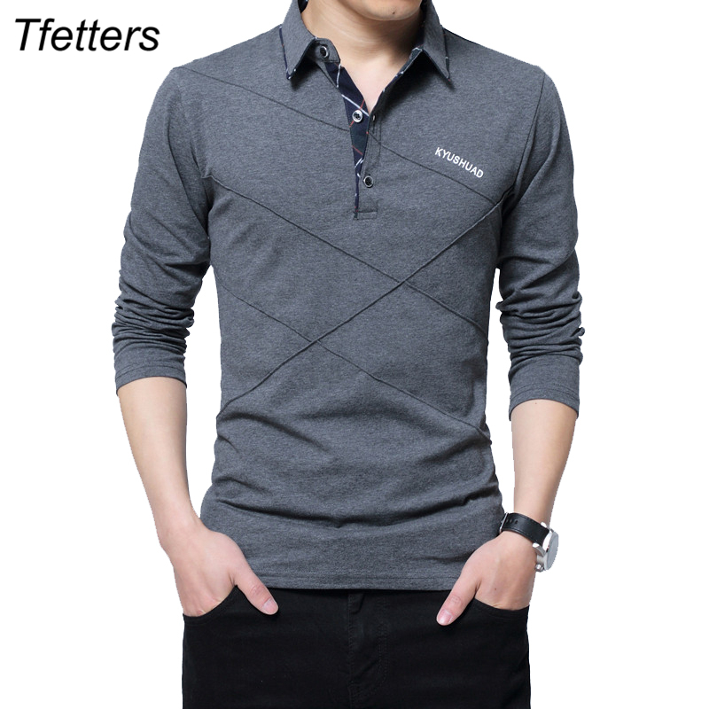 TFETTERS Brand   T     Shirt   Men Long   T  -  shirt   Turn-down Stripe Designer   T  -  shirt   Slim Fit Loose Casual Cotton   T     Shirt   Male Plus Size