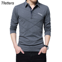 TFETTERS Brand T Shirt Men Long T Shirt Turn Down Stripe Designer T Shirt Slim Fit