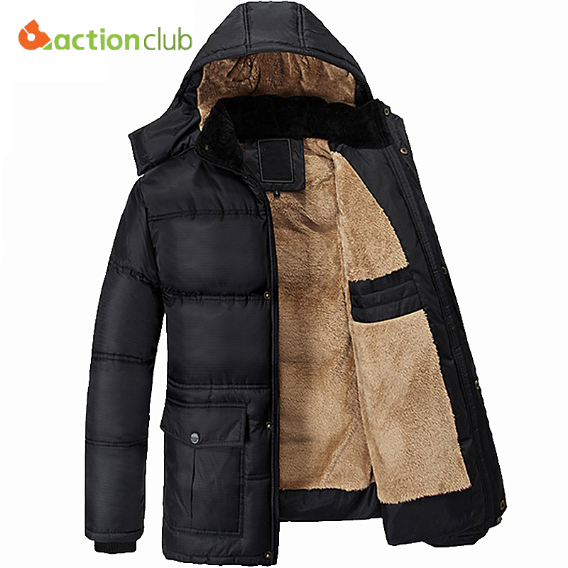 ФОТО ACTIONCLUB Mens Jacket Fashion Men Thickened Coat Waterproof Hat Detachable Winter Warm Jacket Plus Size Plus Thick Velvet