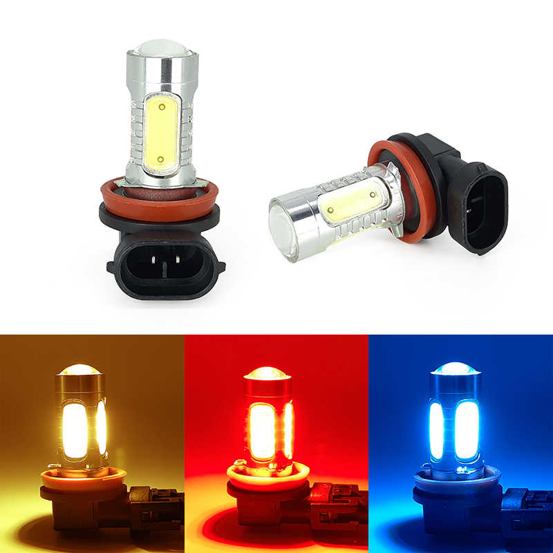 2PCS H11 led fog light yellow 3000k red   bule 12000k wihte 6000k light Daylight Bulb Turning Parking Bulb 12V