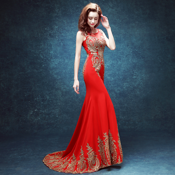 8de075e08f6 Sexy Red Long Evening Dresses The Scoop Collar Gold Pattern Embroidery  Crystal Mermaid Dress Zipper Back Fish Tail Party Dresses