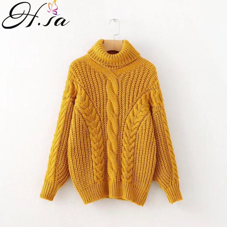 930d6ebb34 H.SA New Arrivals Women Winter and Autumn Turtleneck Sweater and Pullovers  Twisted Mohair Knitted Jumpers Loose Warm Sweaters