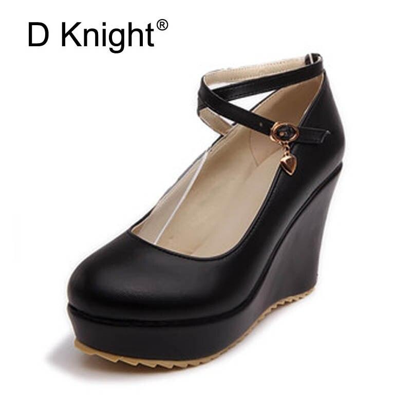 Elegant High Heels 2018 Women Model Cross Buckle Strap Pumps Ladies Round Toe Casual Platform Shoes Woman Plus Size 34-43 D42