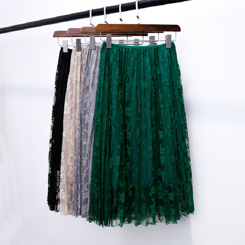 2019 New Summer Skirts Elegant Lace Pleated Skirt Solid 5 Colors Women High Waist Skirt Sexy All-match Spring Skirts Saia Longa