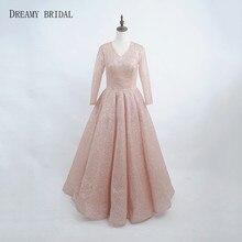 Dreamy nupcial rosa De oro vestidos De noche brillo Sparking Robe De Soiree  manga larga cuello dcbe5ad7ed38