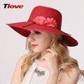 2016 New Female Hat Summer UV Sun Hat Seaside Sun Flowers Folding Outside Beach Hat Wide Brim Flower Sun Cap B-3159