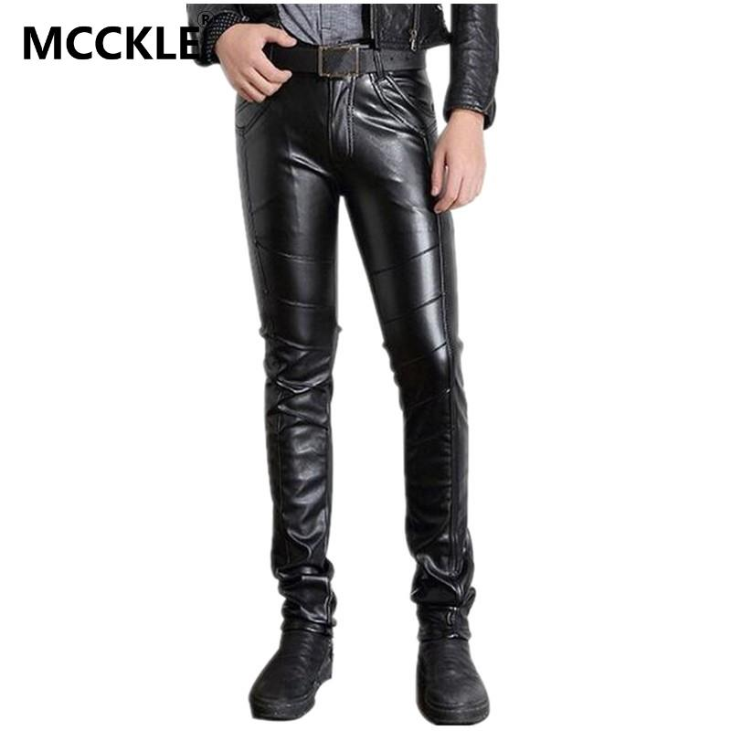 MCCKLE Super Skinny Mens Faux Leather Pants PU Material Black Slim Fit Motorcycle Leather Trousers For