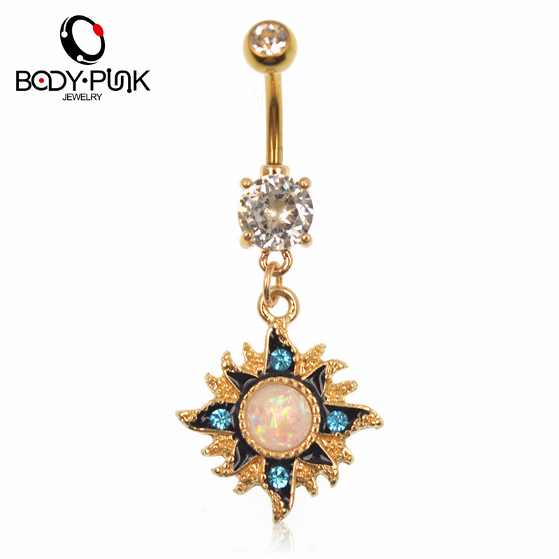 BODY PUNK Gold Sun White Opal Dangle Navel Belly Rings Sexy Body Jewelry Women Girls Belly Button Rings Blue CZ Summer Bijoux