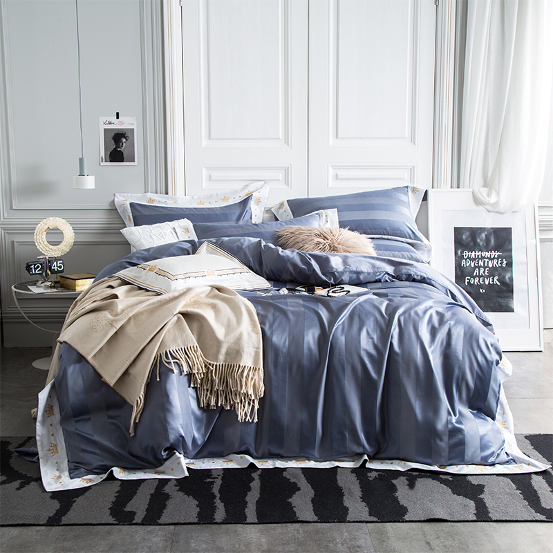 Домашний текстиль, серый пододеяльник в полоску, наволочка, простыня, простой, скандинавский, Королевский размер, Комплект постельного бель