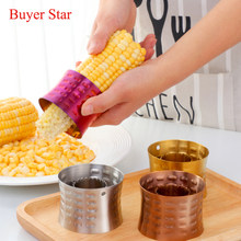New Stainless Steel Corn Stripper Creative Round Corn Cob Peeler Slicer Corn Cutter Pitter Vegetable Tools Kitchen Accessories(China)