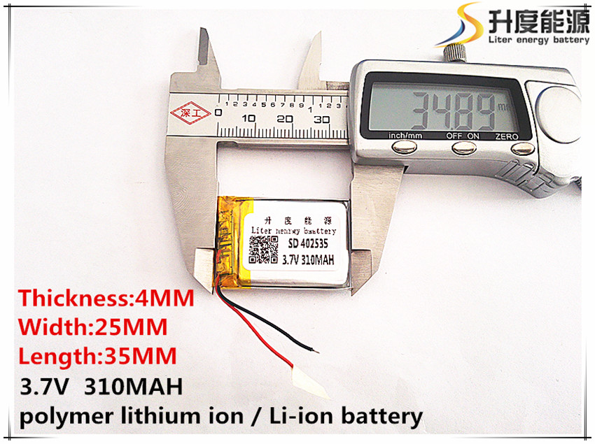 sd 3.7v,310mah, 2pcs 402535 Polymer Lithium Ion / Li-ion Battery For Toy,power Bank,gps,mp3,mp4,cell Phone,speaker Crazy Price