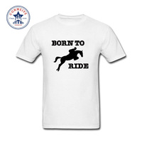2017 Funny Hip Hop Printed Funny Born To Ride Horse Riding Cotton Funny T Shirt For