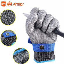 New 1 Pcs Cut Resistant Stainless Steel Gloves Working Safety Gloves Metal Mesh Anti Cutting For Butcher Worker rebune cut resistant working gloves with stainless steel wire protective safety gloves metal tactical butcher steel glovesre8004