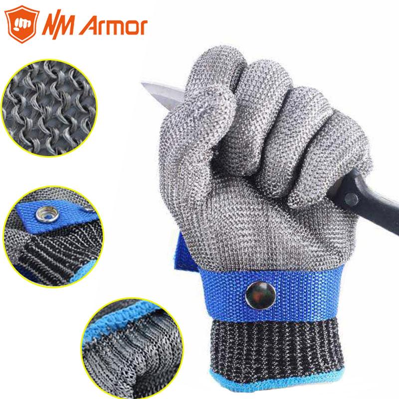 Nueva 1 piezas resistentes al corte guantes de acero inoxidable guantes de trabajo de seguridad Metal Mesh Anti corte para carnicero trabajador