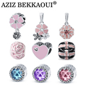 AZIZ BEKKAOUI New Pink Flower Beads fit for Pandora Poetic Blooms Mixed Enamels Clear CZ Heart Charms for Bracelet Accessories