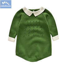 917b4453680a Autumn winter Cute Baby Knitted Rompers green pink Red Pure Cotton newborn  Sweater Infant Jumpsuit Knitting