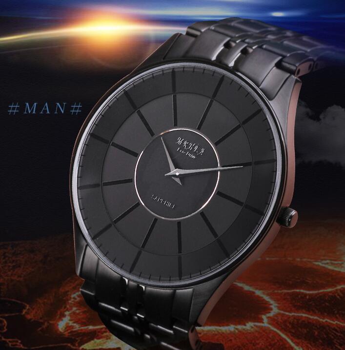 Genuine Eco-Drive Watch Men's Fashion Watch Leisure Simple Glamour Men's Watch Ultra-thin Black Steel Sapphire Surface