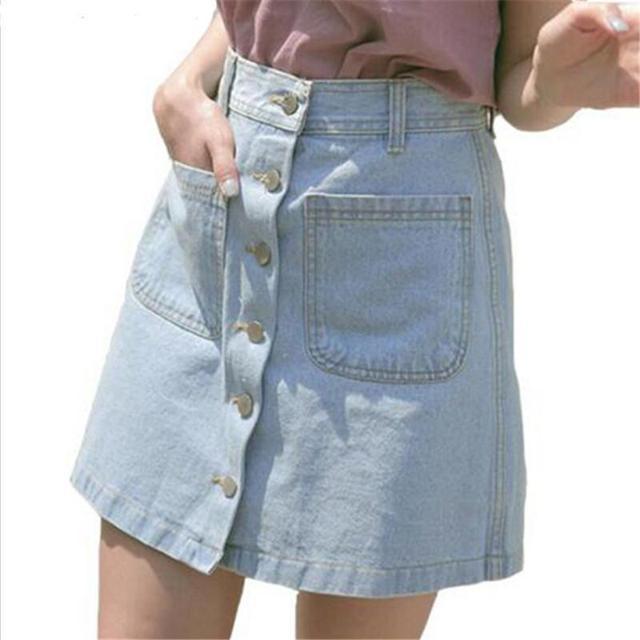 Новый Для женщин летние Джинсовые юбки модные Высокая Талия Юбки для женщин плюс Размеры мини Джинсы для женщин юбка Высокое качество Синий Дешевые пикантные Юбки для женщин Низ