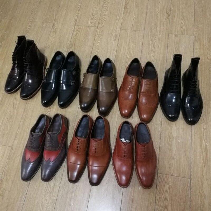 Наличии продвижения продукции, Мужская обувь натуральная кожа 100% ручной работы с Goodyear Welted, бесплатная доставка