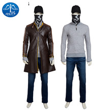 ManLuYunXiao 2017 Cosplay Costume Watch Dogs Aiden Pearce Cosplay Men's Jacket T-shirt Full Suit Custom Made Free Shipping