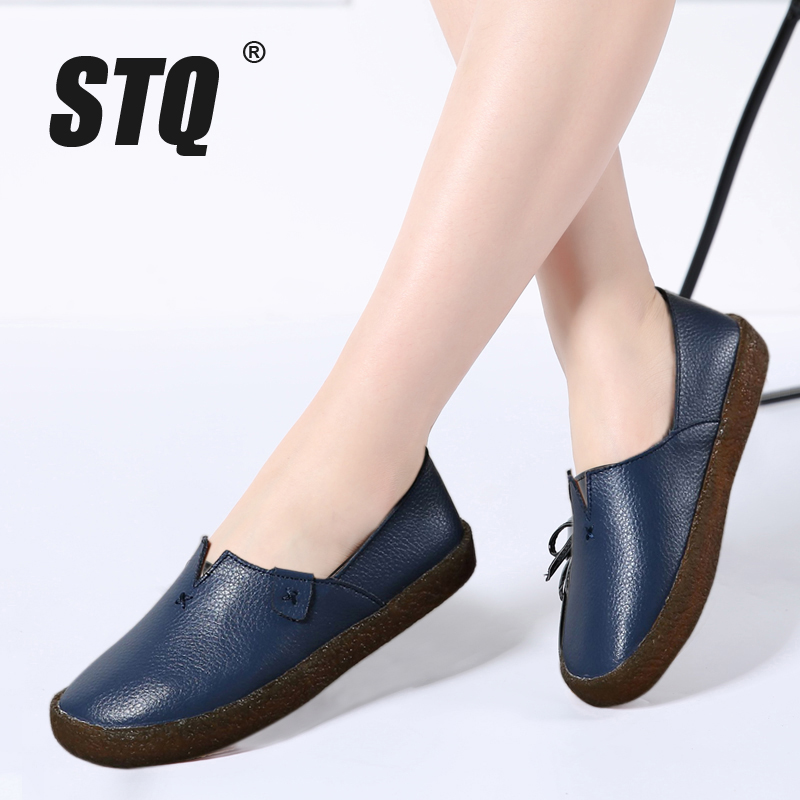 22762196960d6 US $30.52 |STQ 2018 Autumn women flats ladies slip on flat loafers shoes  ladies handmade ballet flats boat shoes leather oxfords shoes 027-in  Women's ...