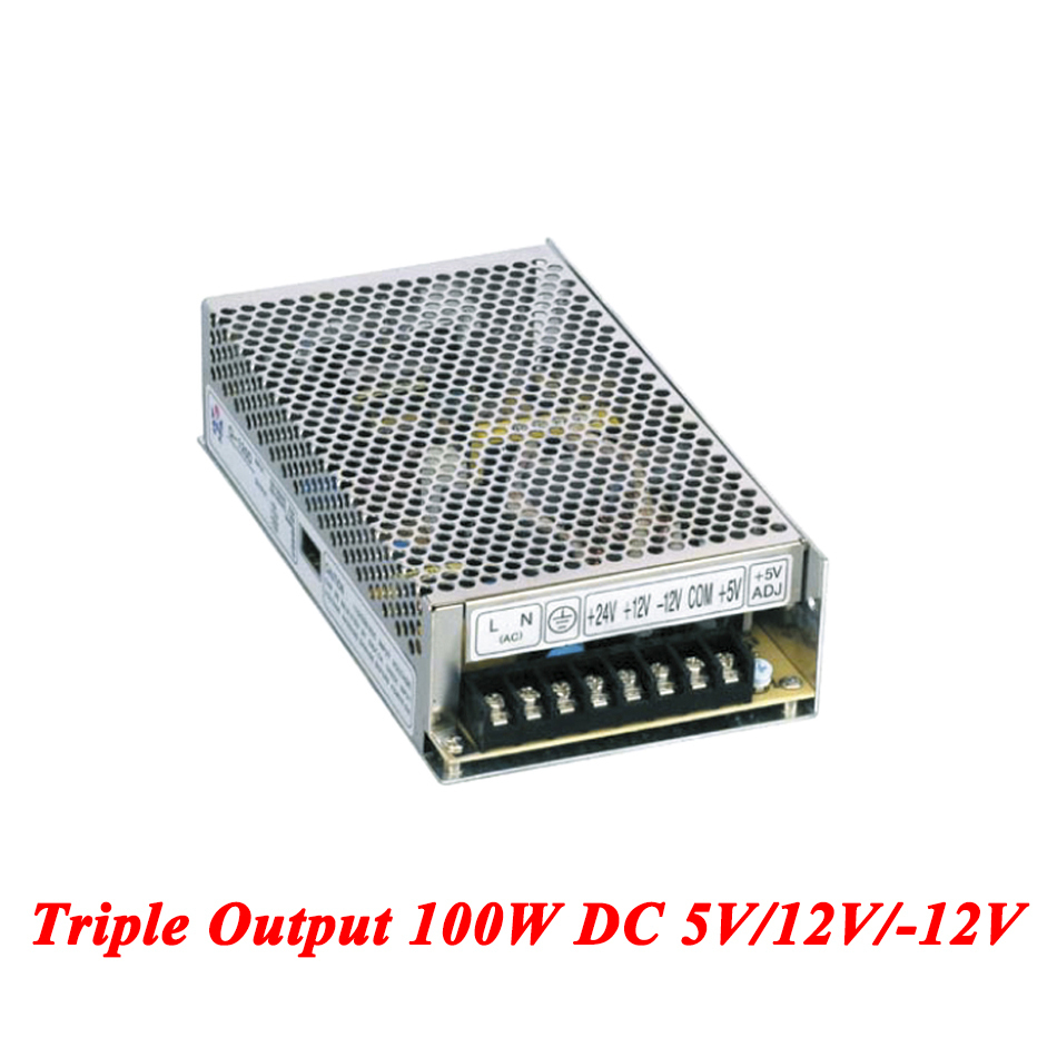 T-100B Triple Output Switching Power Supply 100W 5V/12V/-12V,dc Power Supply For Led Driver,AC110V/220V Transformer To DC meanwell 12v 350w ul certificated nes series switching power supply 85 264v ac to 12v dc