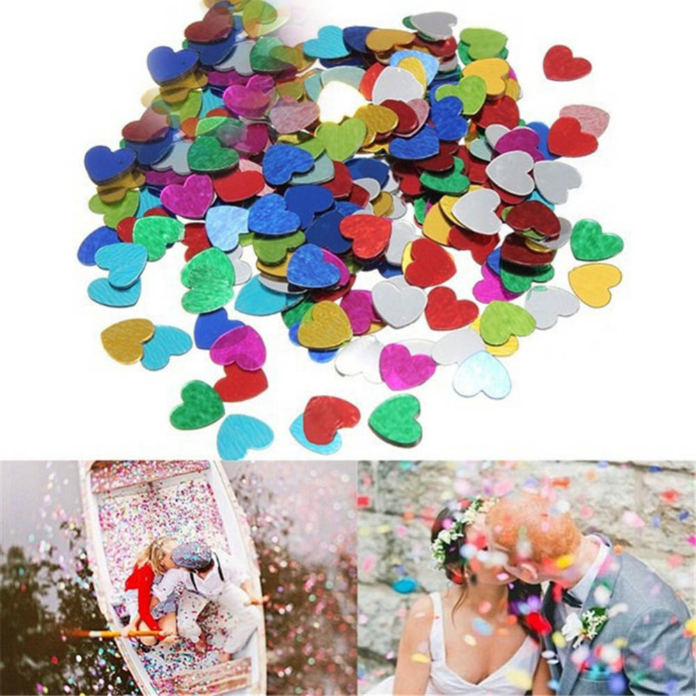 1000pcs/bag 10mm Multi Color Sparkling Love Heart Shaped Wedding Throwing Confetti Table Decoration Decorative Party Supplies