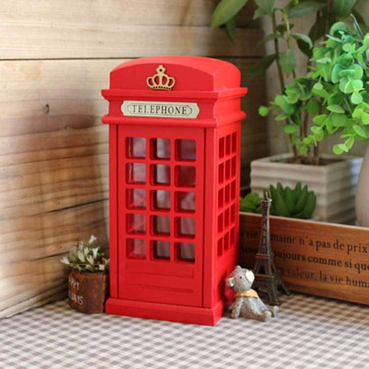 Original British Wood Gl Money Coin Spare Change Piggy London Street Red Telephone Phone Booth Bank Souvenir Modelmoney Bo In From Home