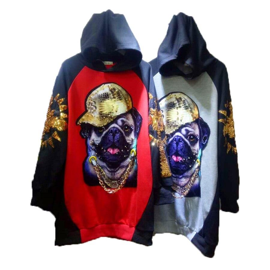 Chien imprimer lâche décontracté vestes à capuche femmes Sweatshirts Long holographique Streetwear Punk coréen à manches longues pulls à capuche 50D0012