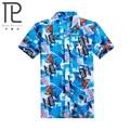 2015 Бренд Летние Гавайские Мужчины Гавайи Пляж Рубашка, Кокосовые пальмы печати Мужчины С Коротким Рукавом Цветочный Свободные Случайные Рубашки Размер L ~ 4XL