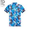 2015 Marca Verano Hombres Hawaii Beach Camisa Hawaiana, cocoteros impresión Hombres de Manga Corta Floral Loose Camisas Casuales Tamaño L ~ 4XL