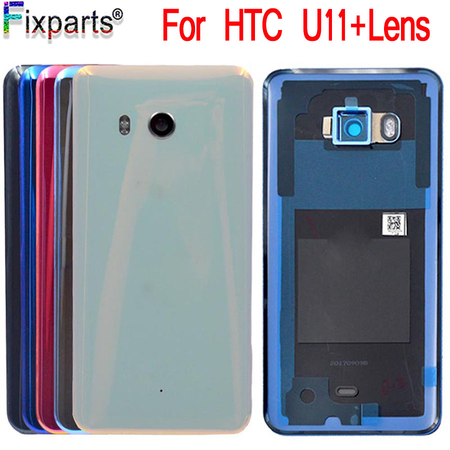 Original NEW For HTC U11 Battery Cover With Camera Lens Glass Door Back Housing Case For HTC U11 U-3w W-1w Back Glass Back Cover