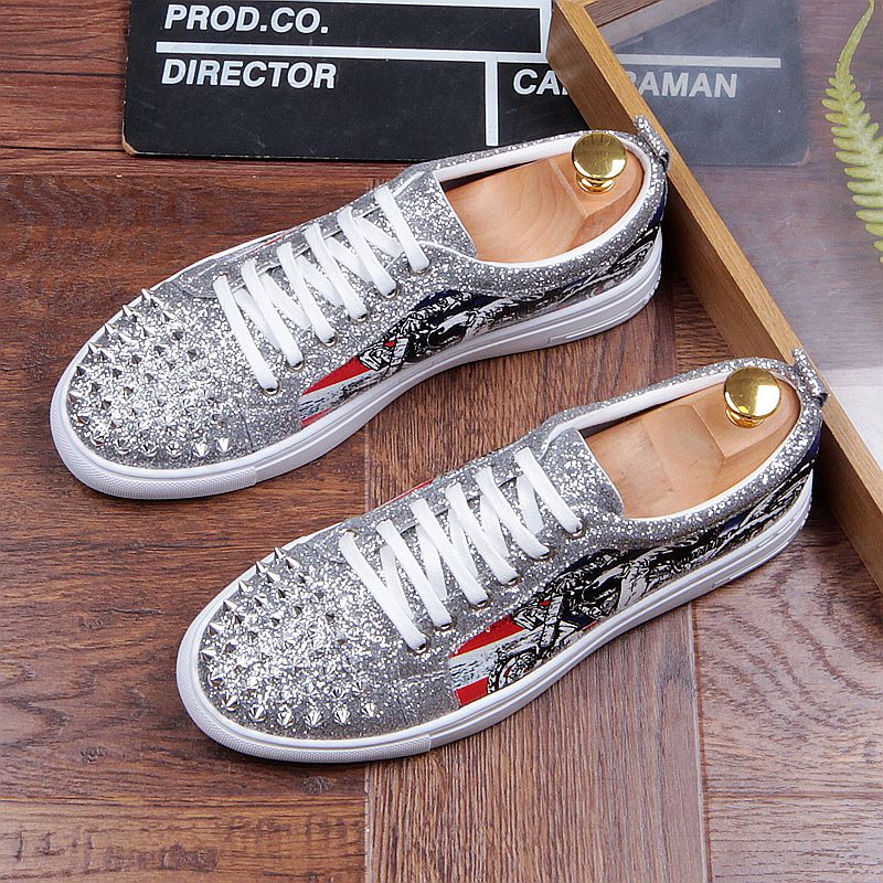 Fashion Men's Sneakers Studded Rivets Casual Black Round Toe Shoes Man Heavy Bottom Lace Up Male Flats Zapatos Hombre-in Men's Casual Shoes from Shoes on Aliexpress.com | Alibaba Group 31