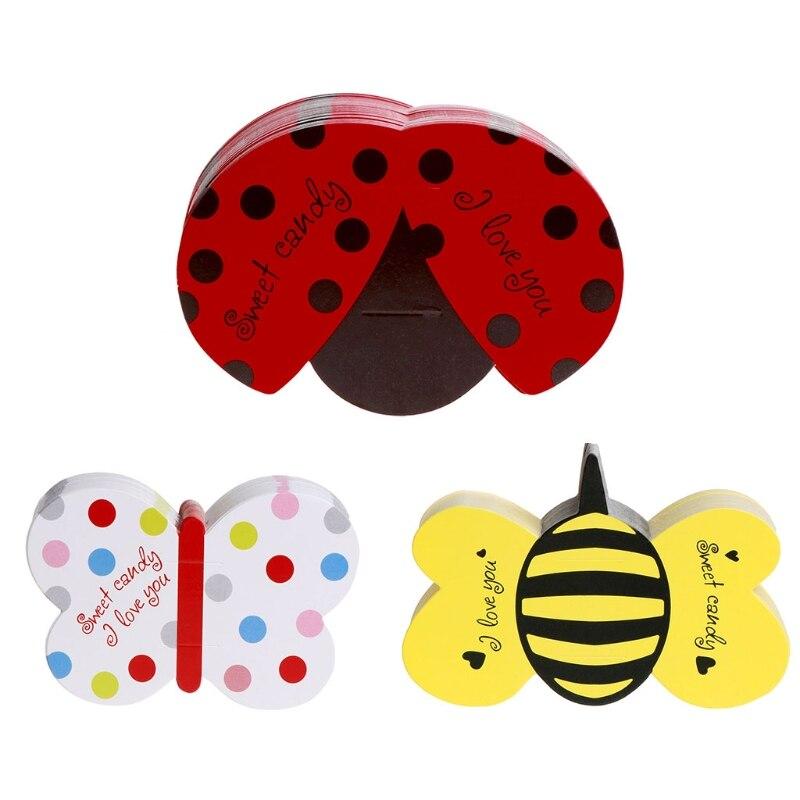 50 шт. насекомых конфеты lollipop карты дети День рождения Свадебный декор конфеты подар ...